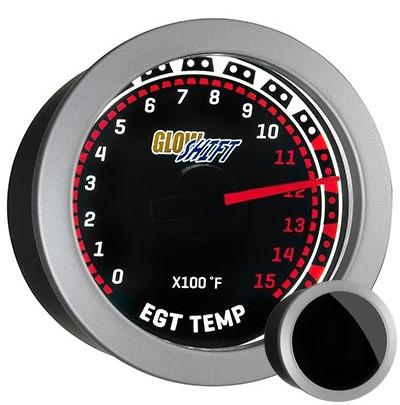 tinted, red, black face exhaust gas temperature gauge, 1500 degree, egt gauge, led exhaust gauge, classic exhaust gauge