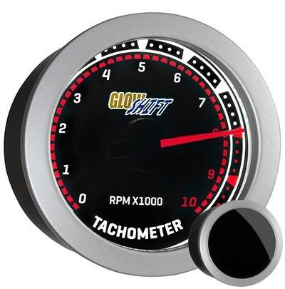 tinted, classic tachometer, led tachometer gauge, tach gauge, black tack gauge, led tack gauge