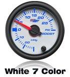 white car gauge, 7 color gauge, performance gauge, custom gauge