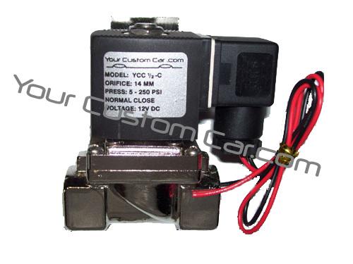 air valve, suspension, 1/2 inch, npt, thread, fast valves, chrome, 12 volt, air bags, lowrider, minitruck