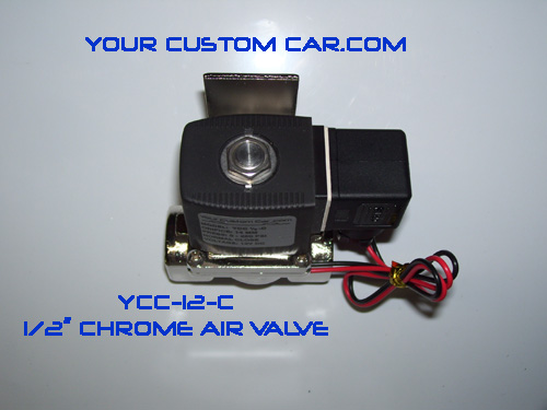 air valve, air bag suspension, 1/2 valve, chrome, air ride valve, air bag valve, ycc-12-c