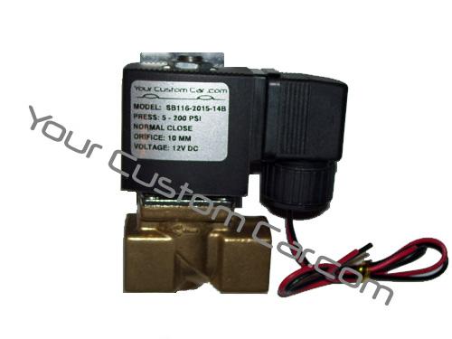 air valve, suspension, 3/8 inch, npt, thread, fast valves, brass, 12 volt, air bags, lowrider, minitruck