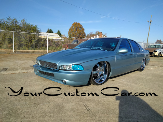 custom impala ss front, 2 inch cowl hood, fiber glass front , custom headlights, Stillen bumper cover