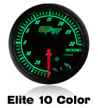 custom gauge elite black face 10 color led