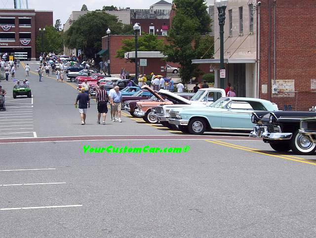 Street Filled with Classic cars